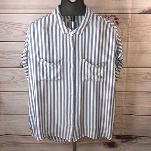 Beachlunchounge striped short sleeve top size XL